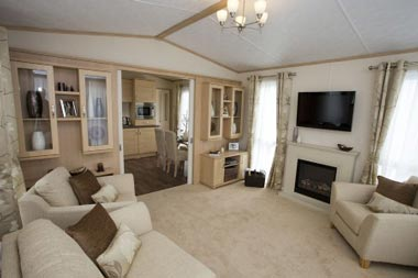 Wall mounted TV in static caravan holiday home